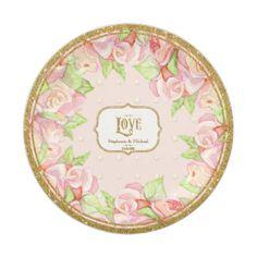 Bridal Shower Table Decor Watercolor Rose Bouquet 7 Inch Paper Plate