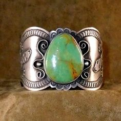 Royston+Turquoise+and+Sterling+Silver+Old+Style+Cuff+Bracelet.++See+below+for+more+detailed+information. $499.00