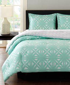 Echo Lattice Geo Aqua Comforter Mini Sets - Bedding Collections - Bed & Bath - Macy's