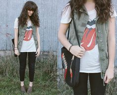Willow & Clay Army Vest, Urban Outfitters Rolling Stones Tee, Mojave Bohemian Bag