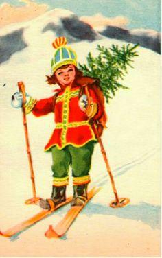 Julekort Erling Nielsen brukt 1940-tallet Norsk arbeide