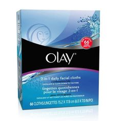 Olay 2-in-1 Combination/Oily Daily Facial Cloths***Size: 66-Count.Soap-Free.,Dermatologist Tested.,Contains Beta-Hydroxy.,2-sided cloths exfoliate and cleanse combination/oily skin of dirt, oil, and make-upâ??even mascara.,Removes 2X more dirt and make-up vs. basic cleansing.,.