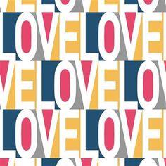 Love Modern Classic Pink Blue Orange Grey Temporary Wallpaper