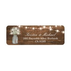 """Ad: Personalize this """"Baby's Breath Mason Jar String Lights Rustic Wood Label"""" to add a special touch. Create yours and send them off in style! (1) For further customization please click the """"customize further"""" link and use our design tool to modify this template. (2) If you need help or matching items please contact me. #rustic #country #string #lights #wedding #elegant #babys #breath #mason #jar #holiday #flowers #Label Engagement Party Invitations, Bridal Shower Invitations, Modern Invitations, Rustic Baby, Rustic Wood, Personalized Labels, Customized Gifts, Firefly Mason Jars, Green Mason Jars"""