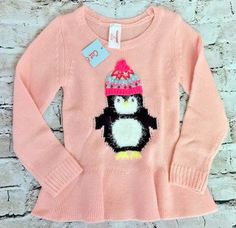 NWT Cat & Jack Toddler Girls 3T Pink Penguin Winter Sweater Soft Acrylic New  #CatJack #Everyday