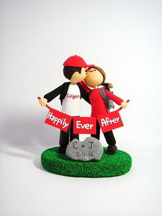 Avid hikers customized wedding cake topper by Clayphory on Etsy
