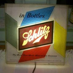 Vintage 1955 Lighted Schlitz Beer Sign / Mid Century