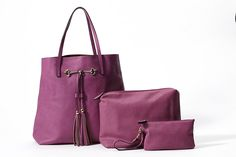 Vegan Leather Handbag Set, Extra Large Shoulder Bag Tote, Oversized Clutch and Wristlet, 3 Piece *** You can get more details by clicking on the image.