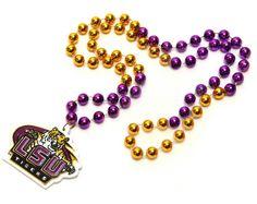 LSU Tigers Mardi Gras Beads with Medallion