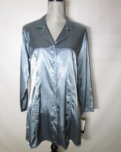 Jones New York Long Sleepshirt Gown Blue Contrast Stitch Classics FJ2645 Medium #JonesNewYork #Sleepshirt