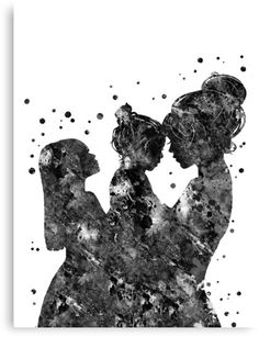 'Mother and daughters' Canvas Print by Rosaliartbook Mother And Daughter Drawing, Mother And Child, Mother Daughters, Vintage Tattoo Sleeve, Mother Painting, Baby Clip Art, Tattoos For Daughters, Silhouette Art, Art Drawings Sketches