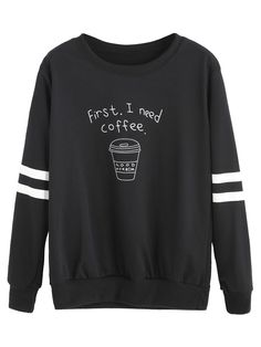 Shop Black Coffee Cup Letters Print Striped Sweatshirt online. SheIn offers Black Coffee Cup Letters Print Striped Sweatshirt & more to fit your fashionable needs.