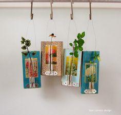 test tube bud vases - four corners design