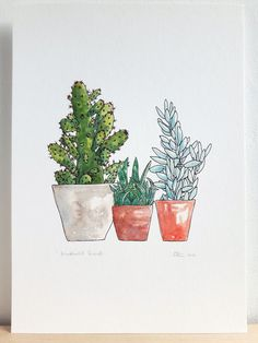 Cactus print. Succulent art print. Cacti and succulents wall art. Plant drawing. Pen and watercolour plants. A4 print 21x29.7cm, 8.3x11.7in