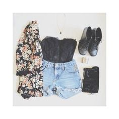Floral kimono with strapless, black crop top and high waisted shorts with black booties and black pouch/purse