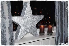 Stor glitrende stjerne til en brøkdel av prisen de koster i interiørbutikkene. Denne er laget av papp og strøglitter. Se hvordan den lages på: dinfantasi.no