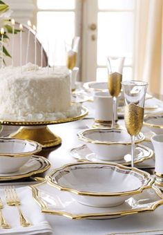 gold and white table