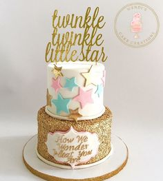 Gender reveal cake Twinkle twinkle little star cake Sequin cake By: Wendi's Cake Creations