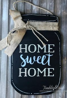 Rustic Farmhouse Decor, Mason Jar Sign,Chalkboard Sign, Home Sweet Home Sign, Ho. - Chalk Art İdeas in 2019 Chalkboard Mason Jars, Chalkboard Signs, Chalkboards, Chalkboard Ideas, Mason Jar Crafts, Mason Jar Diy, Mason Jar Hanger, Decoupage, Diy Hanging Shelves