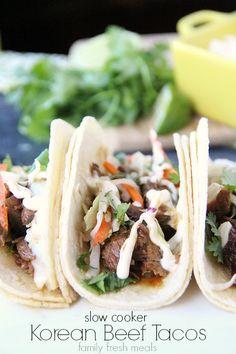 Easy Slow Cooker Korean BBQ Beef Tacos - one of the best crock pot meals i've had! Korean Beef Tacos, Slow Cooker Korean Beef, Crock Pot Slow Cooker, Crock Pot Cooking, Slow Cooker Recipes, Mexican Food Recipes, Crockpot Recipes, Cooking Recipes, Tacos Crockpot