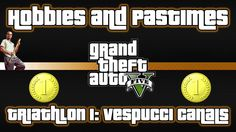 This is Triathlon 1: Vespucci Canals Hobby or Pastime in Grand Theft Auto V that involves Trevor, taking part in a triathlon competition and winning a gold metal.