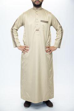 Gold Collar White Jubbah Thobe