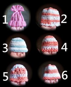 6 Baby Hats free crochet and knit patterns