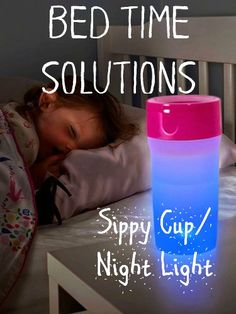 Help your anxious child fall asleep with this awesome night light sippy cup combo! Soothing and practical!