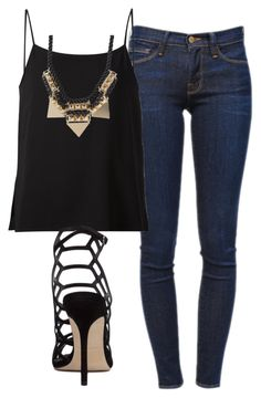 """""""Sem título #6093"""" by ana-sheeran-styles ❤ liked on Polyvore featuring Frame Denim, Helmut Lang, Steve Madden and Pieces"""
