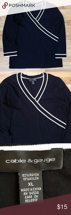 Cable and Gauge Sweater Cable and Gauge Sweater. Size XL, long sleeves, v-neckline, black with white piping across front and sleeve hem. Cable & Gauge Sweaters V-Necks