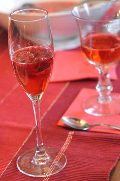 cocktail de champagne aux framboises