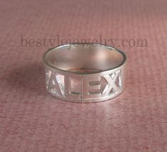 Cutout Name Ring - Name Ring - Unique Ring -  Gift For Unisex - Sterling Silver