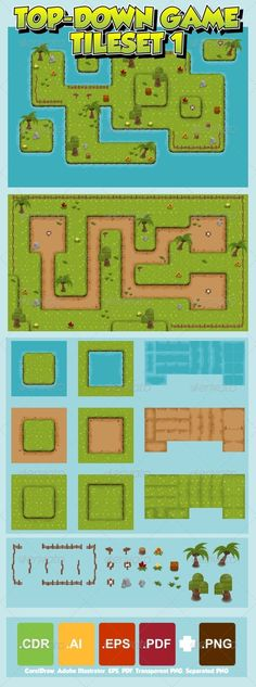 Buy Top-Down Game Tileset 1 by pzUH on GraphicRiver. Set of tiles to create a map for top-down games. Can be used to create RPG, RTS, strategy, tower defense, top-down sh. Game Design, Game Level Design, Top Down Game, Defense Games, Low Poly Games, 2d Game Art, Pixel Art Games, Tower Defense, Game Concept