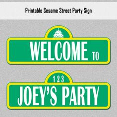 Sesame Street Inspired Customized Party Sign - Printable PDF