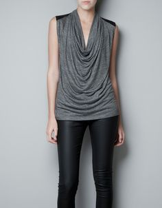 Zara Draped Tshirt with Faux Leather Shoulders in Gray (light grey) - Lyst