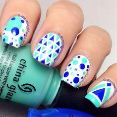 geometric/dot nails by ohmygoshpolish