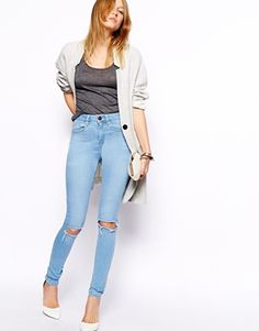 ASOS Ridley High Waist Ultra Skinny Jeans in Watercolour Blue with Busted Knees