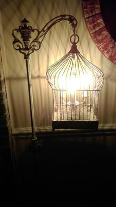 Finished Bird Cage Floor Lamp With Vintage Chandelier