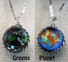 Pocket Universe Necklace Nebula on one side and Alien Planet on the other by Fractured Infinity FracturedInfinity.etsy.com Space Jewelry, Alien Planet, Infinity, Universe, Pendant Necklace, Drop Earrings, Pocket, Etsy, Infinite
