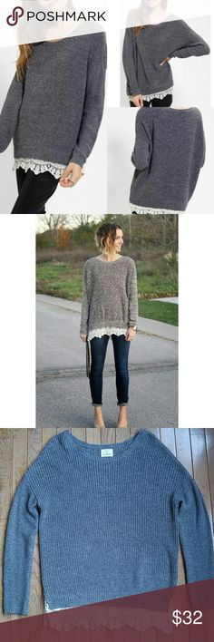 Pins and Needles Lace Bottom Sweater Speckled gray tunic sweater with cream lace trim on bottom by Pins and Needles. From Urban Outfitters. Worn a few times, in excellent condition. No holes or stains. Size XS, fits oversized. Comfy cute with leggings or skinny jeans. Urban Outfitters Sweaters