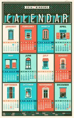 Calendar - 2016 / windows Art Print by Adline / Szende Brassai - X-Small Diy Calendar, Calendar Design, 2016 Calendar, Desk Calender, Calendar Board, Family Calendar, Design Shop, Design Design, Poster Design