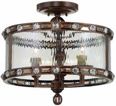 "Savoy House 6-6032-3 Paragon 3 Light 16.75"" Wide Semi-Flush Ceiling Fixture Gilded Bronze Indoor Lighting Ceiling Fixtures Semi-Flush"