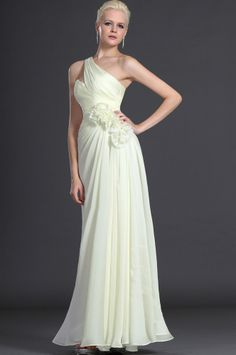 osell wholesale dropship Chiffon Pleated One Shoulder Sleeveless Floor Length A Line Evening Prom Dresses $75.28