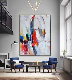 Handmade Extra Large Contemporary Painting Huge por CelineZiangArt