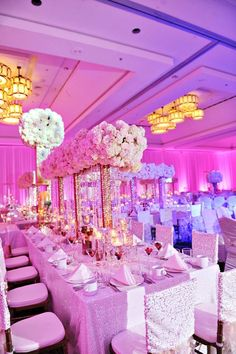 Pink & white high style dinning room.