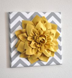 "Wall Flower -Mellow Yellow Dahlia on Gray and White Chevron 12 x12"" Canvas Wall Art- 3D Felt Flower"