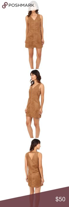 Jack Bane Vegan suede dress SUPER CUTE PERFECT FOR 🍁FALL🍂Pay homage to the seventies fashion scene in the Bane Dress. Shift silhouette. Solid colorway on a suede fabrication. V-neckline. Flirty cutout at nape. Front hand pockets. Unlined. Straight hemline. Slip-on. 100% polyester. Hand wash cold, hang dry. Jack by BB Dakota Dresses Midi