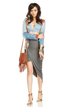 DAILYLOOK Twisted High Low Skirt in Gray XS - L | DAILYLOOK