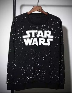Star Wars Print Splashed Ink Round Neck Long Sleeves Men's Vogue Sweatshirt