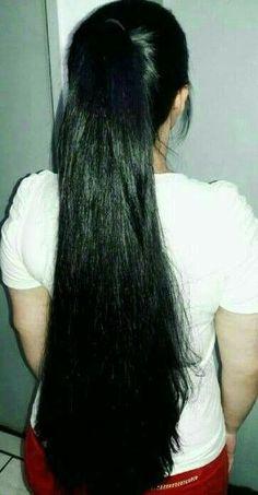 Long Ponytail Hairstyles, Long Hair Ponytail, Long Ponytails, Braids For Long Hair, Straight Ponytail, Bun Hair, Straight Hair, Long Silky Hair, Long Dark Hair